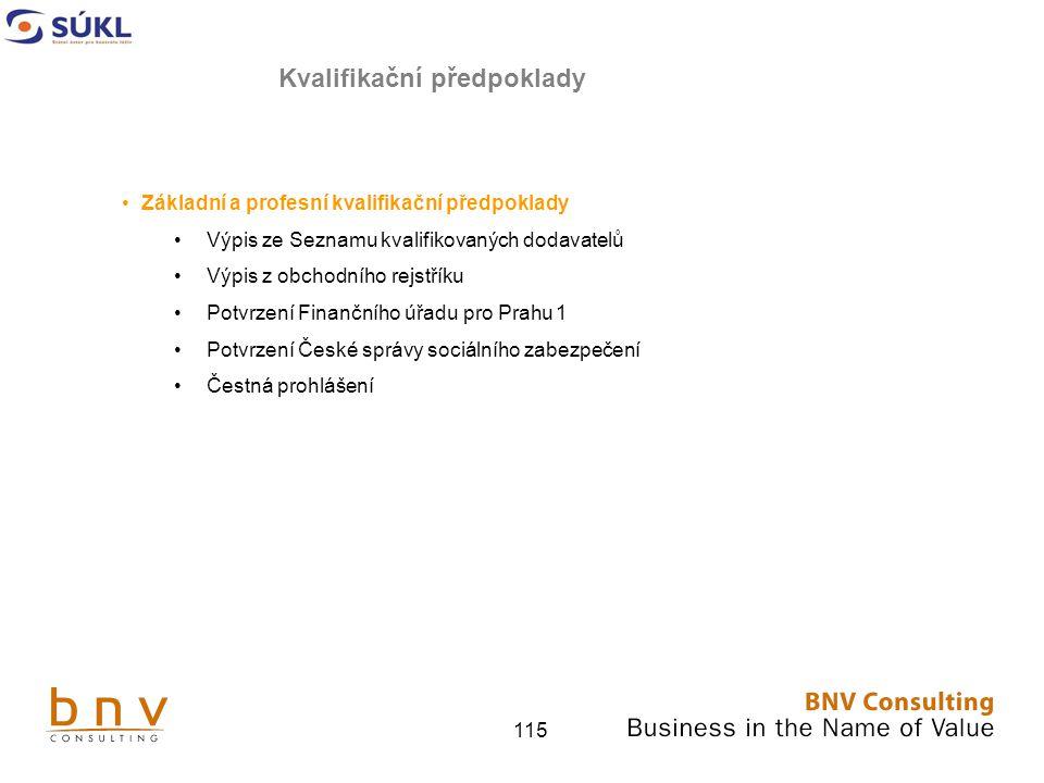 115 Základní a profesní kvalifikační předpoklady Výpis ze Seznamu kvalifikovaných dodavatelů Výpis z obchodního rejstříku Potvrzení Finančního úřadu pro Prahu 1 Potvrzení České správy sociálního zabezpečení Čestná prohlášení Kvalifikační předpoklady