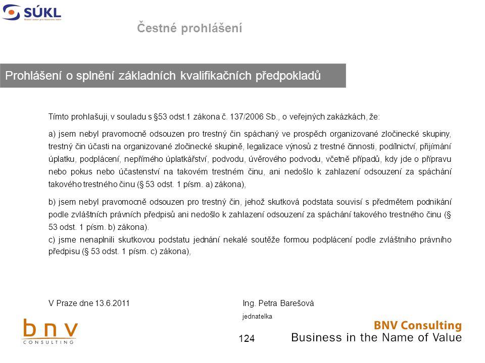 124 Čestné prohlášení Tímto prohlašuji, v souladu s §53 odst.1 zákona č.