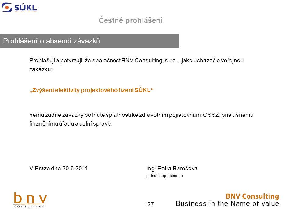 """127 Čestné prohlášení Prohlašuji a potvrzuji, že společnost BNV Consulting, s.r.o.,,jako uchazeč o veřejnou zakázku: """"Zvýšení efektivity projektového řízení SÚKL nemá žádné závazky po lhůtě splatnosti ke zdravotním pojišťovnám, OSSZ, příslušnému finančnímu úřadu a celní správě."""