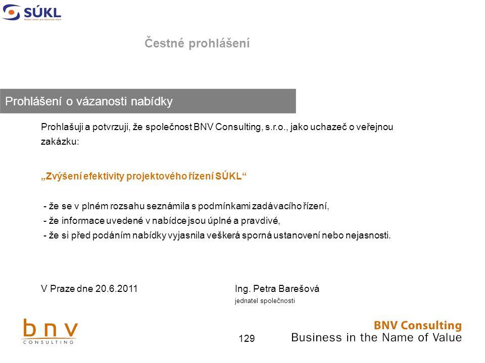 """129 Čestné prohlášení Prohlašuji a potvrzuji, že společnost BNV Consulting, s.r.o., jako uchazeč o veřejnou zakázku: """"Zvýšení efektivity projektového řízení SÚKL - že se v plném rozsahu seznámila s podmínkami zadávacího řízení, - že informace uvedené v nabídce jsou úplné a pravdivé, - že si před podáním nabídky vyjasnila veškerá sporná ustanovení nebo nejasnosti."""