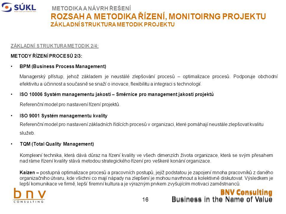 16 ZÁKLADNÍ STRUKTURA METODIK 2/4: METODY ŘÍZENÍ PROCESŮ 2/3: BPM (Business Process Management) Managerský přístup, jehož základem je neustálé zlepšování procesů – optimalizace procesů.