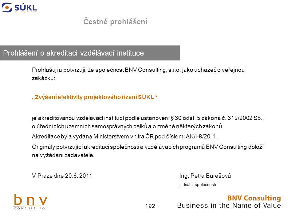 192 Čestné prohlášení Prohlašuji a potvrzuji, že společnost BNV Consulting, s.r.o.