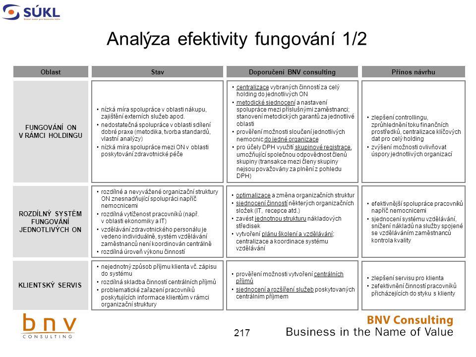 217 Analýza efektivity fungování 1/2 FUNGOVÁNÍ ON V RÁMCI HOLDINGU ROZDÍLNÝ SYSTÉM FUNGOVÁNÍ JEDNOTLIVÝCH ON nízká míra spolupráce v oblasti nákupu, zajištění externích služeb apod.