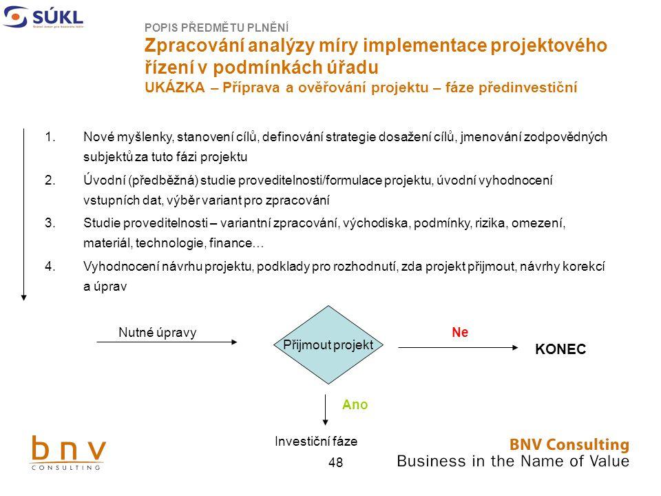 48 POPIS PŘEDMĚTU PLNĚNÍ Zpracování analýzy míry implementace projektového řízení v podmínkách úřadu UKÁZKA – Příprava a ověřování projektu – fáze předinvestiční 1.Nové myšlenky, stanovení cílů, definování strategie dosažení cílů, jmenování zodpovědných subjektů za tuto fázi projektu 2.Úvodní (předběžná) studie proveditelnosti/formulace projektu, úvodní vyhodnocení vstupních dat, výběr variant pro zpracování 3.Studie proveditelnosti – variantní zpracování, východiska, podmínky, rizika, omezení, materiál, technologie, finance… 4.Vyhodnocení návrhu projektu, podklady pro rozhodnutí, zda projekt přijmout, návrhy korekcí a úprav Nutné úpravy Přijmout projekt Ne KONEC Ano Investiční fáze