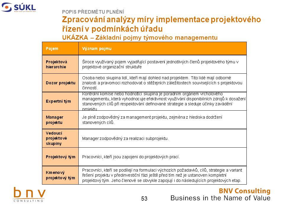 53 POPIS PŘEDMĚTU PLNĚNÍ Zpracování analýzy míry implementace projektového řízení v podmínkách úřadu UKÁZKA – Základní pojmy týmového managementu