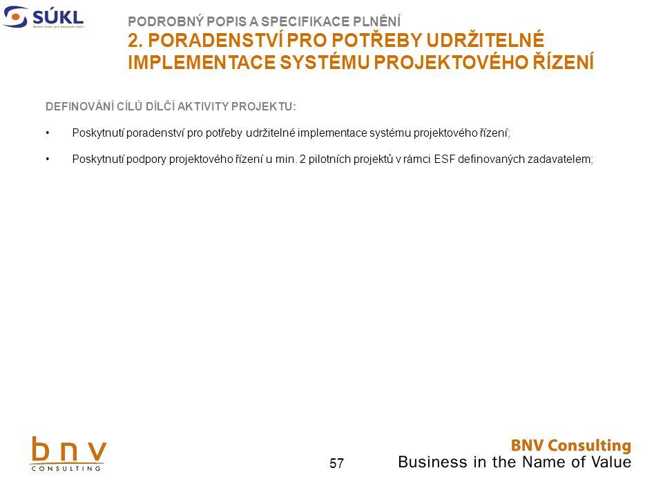 57 DEFINOVÁNÍ CÍLŮ DÍLČÍ AKTIVITY PROJEKTU: Poskytnutí poradenství pro potřeby udržitelné implementace systému projektového řízení; Poskytnutí podpory projektového řízení u min.