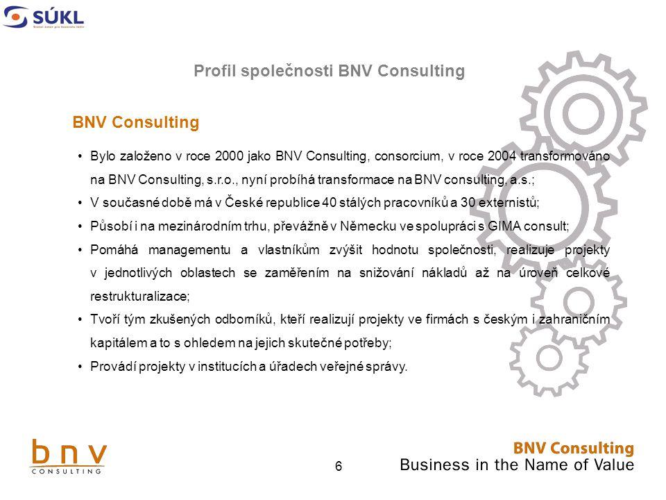 6 BNV Consulting Bylo založeno v roce 2000 jako BNV Consulting, consorcium, v roce 2004 transformováno na BNV Consulting, s.r.o., nyní probíhá transformace na BNV consulting, a.s.; V současné době má v České republice 40 stálých pracovníků a 30 externistů; Působí i na mezinárodním trhu, převážně v Německu ve spolupráci s GIMA consult; Pomáhá managementu a vlastníkům zvýšit hodnotu společnosti, realizuje projekty v jednotlivých oblastech se zaměřením na snižování nákladů až na úroveň celkové restrukturalizace; Tvoří tým zkušených odborníků, kteří realizují projekty ve firmách s českým i zahraničním kapitálem a to s ohledem na jejich skutečné potřeby; Provádí projekty v institucích a úřadech veřejné správy.