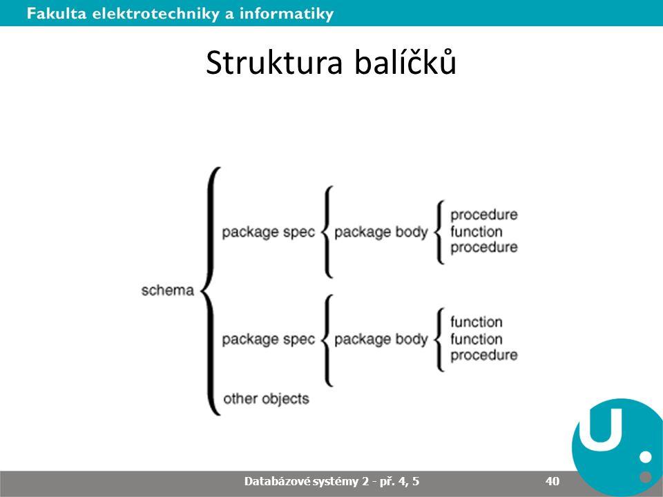 Struktura balíčků Databázové systémy 2 - př. 4, 5 40