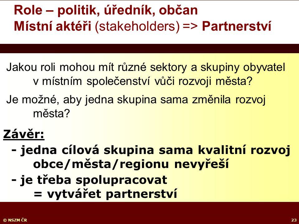 © NSZM ČR23 Role – politik, úředník, občan Místní aktéři (stakeholders) => Partnerství.