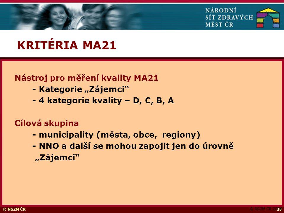 """© NSZM ČR28 KRITÉRIA MA21 © NSZM ČR 2006 Nástroj pro měření kvality MA21 - Kategorie """"Zájemci - 4 kategorie kvality – D, C, B, A Cílová skupina - municipality (města, obce, regiony) - NNO a další se mohou zapojit jen do úrovně """"Zájemci"""