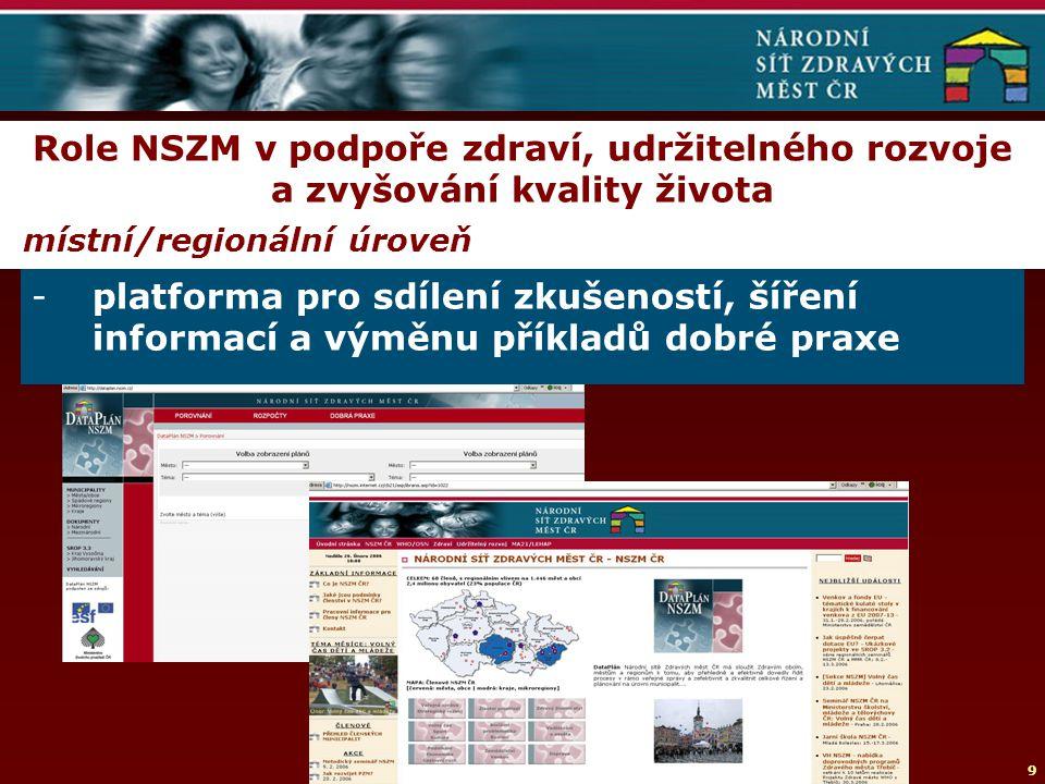 9 Role NSZM v podpoře zdraví, udržitelného rozvoje a zvyšování kvality života místní/regionální úroveň -platforma pro sdílení zkušeností, šíření informací a výměnu příkladů dobré praxe