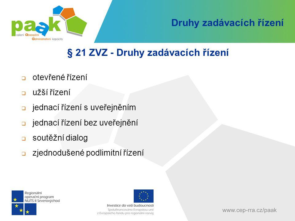 Druhy zadávacích řízení § 21 ZVZ - Druhy zadávacích řízení  otevřené řízení  užší řízení  jednací řízení s uveřejněním  jednací řízení bez uveřejn