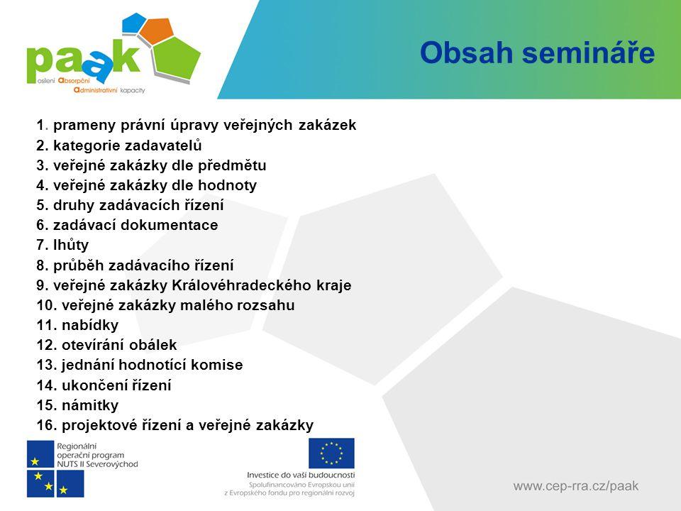 Obsah semináře 1. prameny právní úpravy veřejných zakázek 2. kategorie zadavatelů 3. veřejné zakázky dle předmětu 4. veřejné zakázky dle hodnoty 5. dr