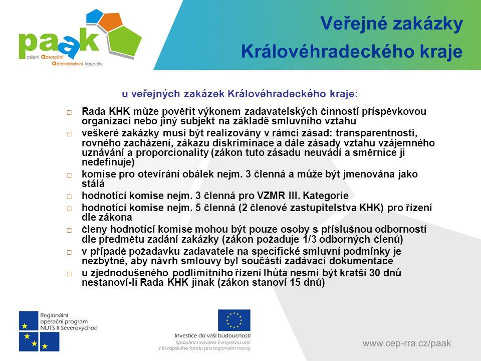 Veřejné zakázky Královéhradeckého kraje u veřejných zakázek Královéhradeckého kraje:  Rada KHK může pověřit výkonem zadavatelských činností příspěvko