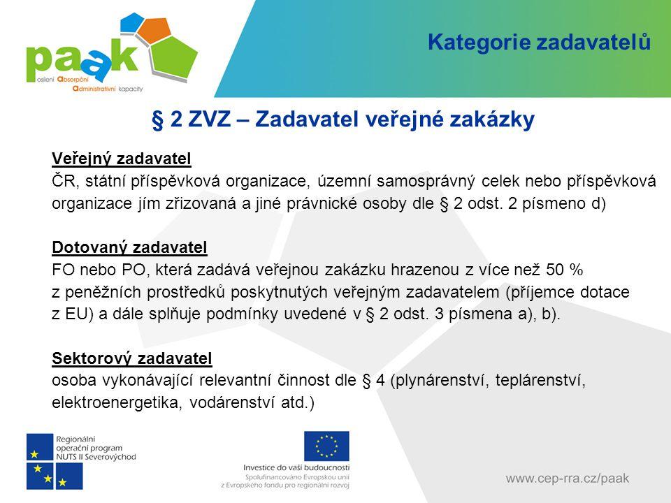 § 2 ZVZ – Zadavatel veřejné zakázky Veřejný zadavatel ČR, státní příspěvková organizace, územní samosprávný celek nebo příspěvková organizace jím zřiz