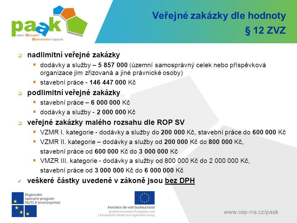 Veřejné zakázky dle hodnoty § 12 ZVZ  nadlimitní veřejné zakázky  dodávky a služby – 5 857 000 (územní samosprávný celek nebo příspěvková organizace
