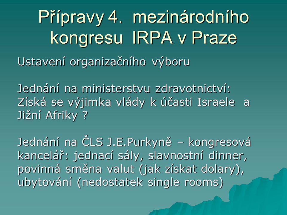 Přípravy 4. mezinárodního kongresu IRPA v Praze Ustavení organizačního výboru Jednání na ministerstvu zdravotnictví: Získá se výjimka vlády k účasti I