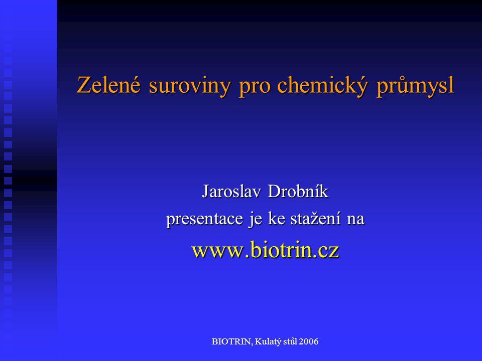 BIOTRIN, Kulatý stůl 2006 Zelené suroviny pro chemický průmysl Jaroslav Drobník presentace je ke stažení na www.biotrin.cz