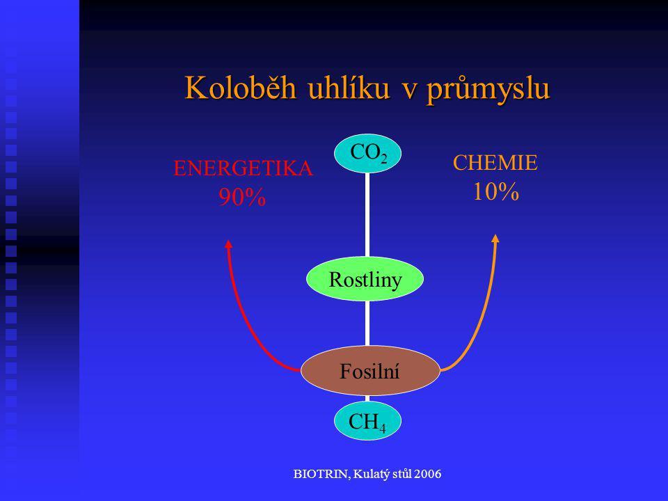 BIOTRIN, Kulatý stůl 2006 Koloběh uhlíku v průmyslu CH 4 CO 2 ENERGETIKA 90% CHEMIE 10% Fosilní Rostliny