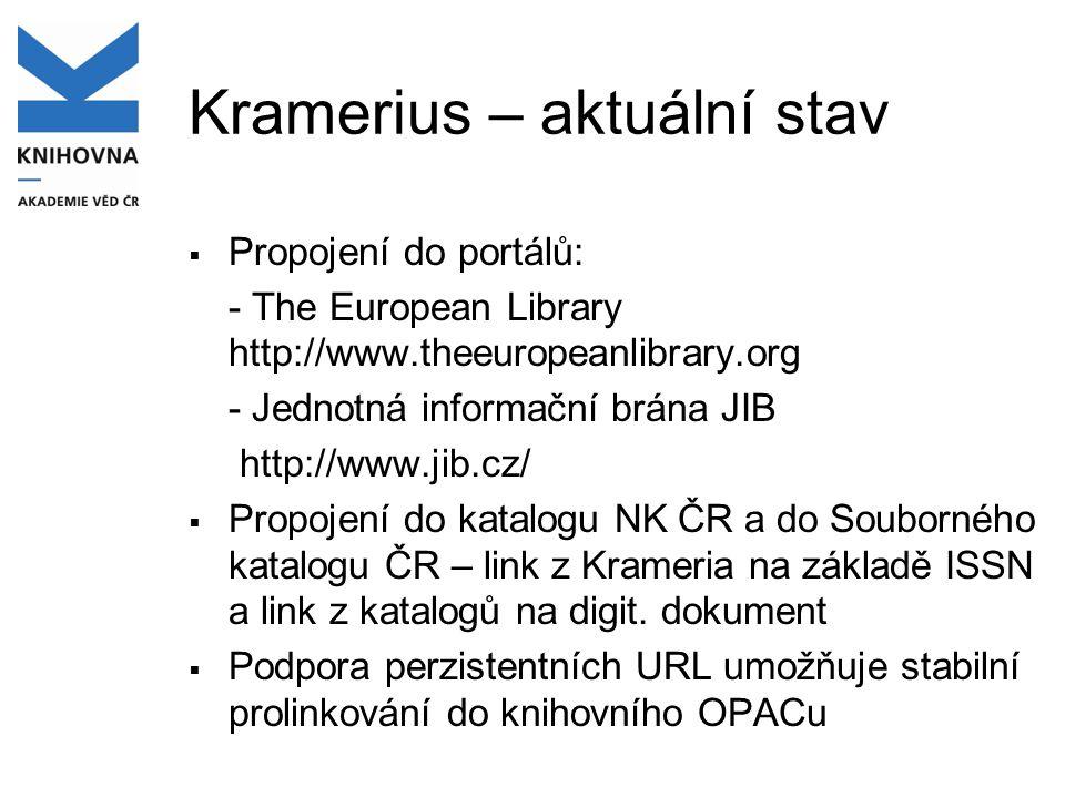 Kramerius – aktuální stav  Propojení do portálů: - The European Library http://www.theeuropeanlibrary.org - Jednotná informační brána JIB http://www.
