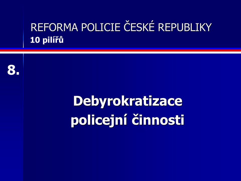 REFORMA POLICIE ČESKÉ REPUBLIKY Debyrokratizace policejní činnosti 8. 10 pilířů