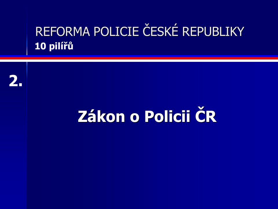 REFORMA POLICIE ČESKÉ REPUBLIKY Zákon o Policii ČR 2. 10 pilířů