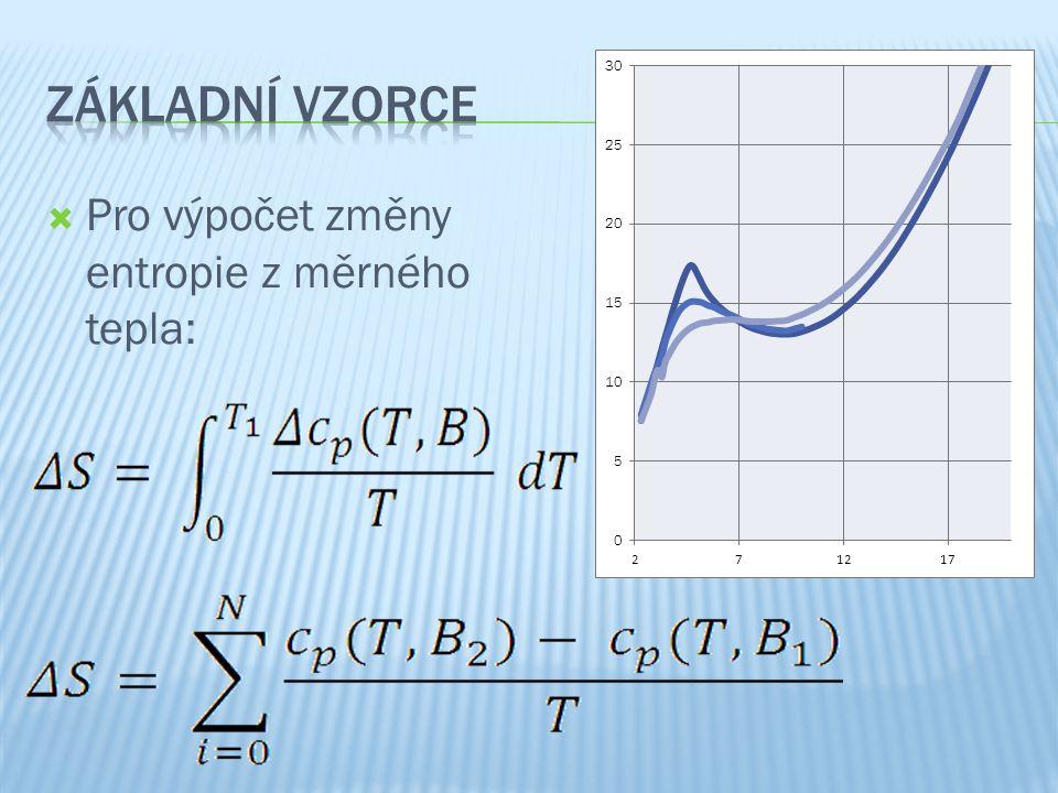  Pro výpočet změny entropie z měrného tepla: