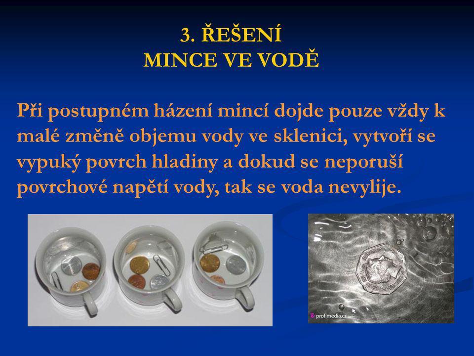 Při postupném házení mincí dojde pouze vždy k malé změně objemu vody ve sklenici, vytvoří se vypuký povrch hladiny a dokud se neporuší povrchové napětí vody, tak se voda nevylije.