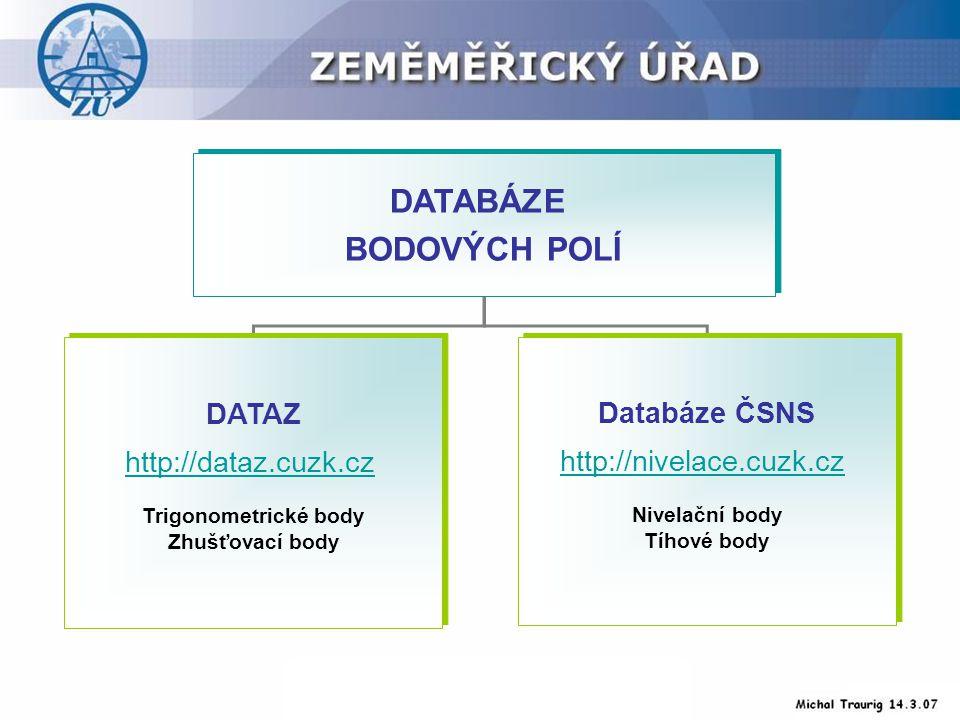 DATABÁZE BODOVÝCH POLÍ DATABÁZE BODOVÝCH POLÍ DATAZ http://dataz.cuzk.cz Trigonometrické body Zhušťovací body DATAZ http://dataz.cuzk.cz Trigonometrické body Zhušťovací body Databáze ČSNS http://nivelace.cuzk.cz Nivelační body Tíhové body Databáze ČSNS http://nivelace.cuzk.cz Nivelační body Tíhové body