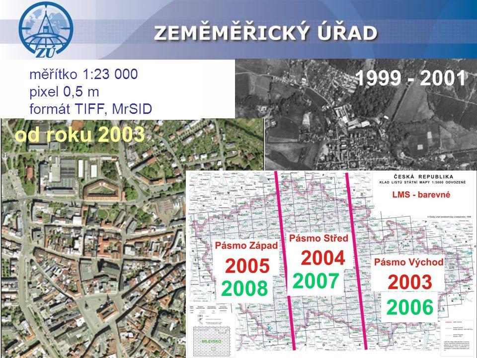 měřítko 1:23 000 pixel 0,5 m formát TIFF, MrSID 1999 - 2001 2006 2007 2008 od roku 2003