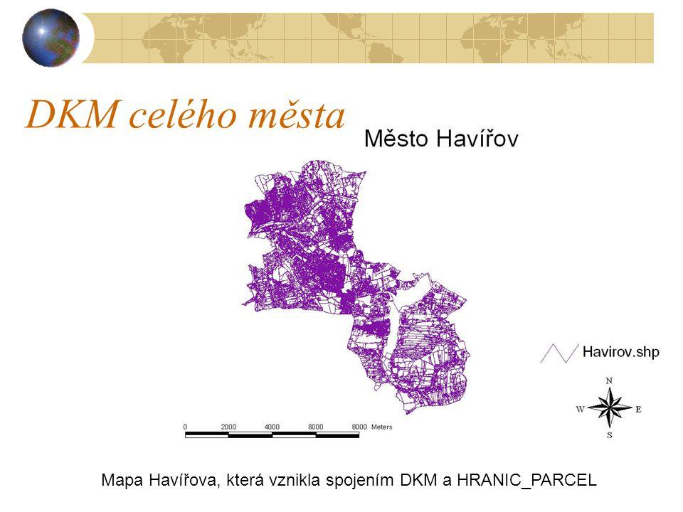 Mapa Havířova, která vznikla spojením DKM a HRANIC_PARCEL DKM celého města