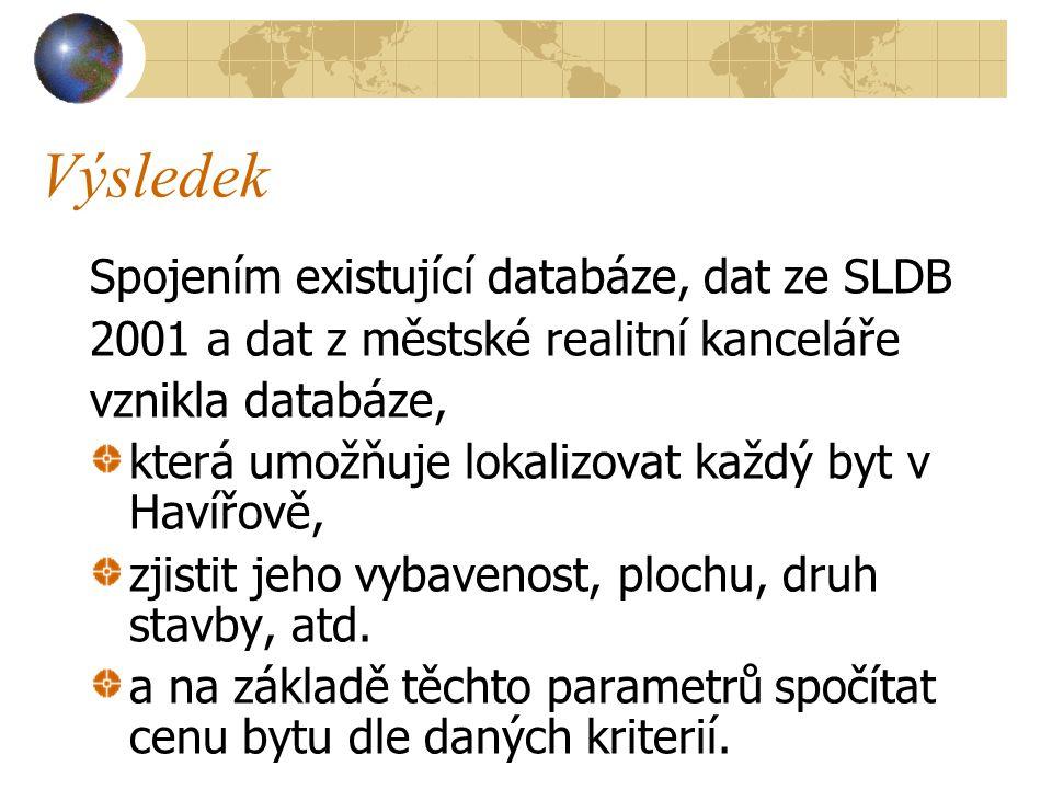 Výsledek Spojením existující databáze, dat ze SLDB 2001 a dat z městské realitní kanceláře vznikla databáze, která umožňuje lokalizovat každý byt v Havířově, zjistit jeho vybavenost, plochu, druh stavby, atd.
