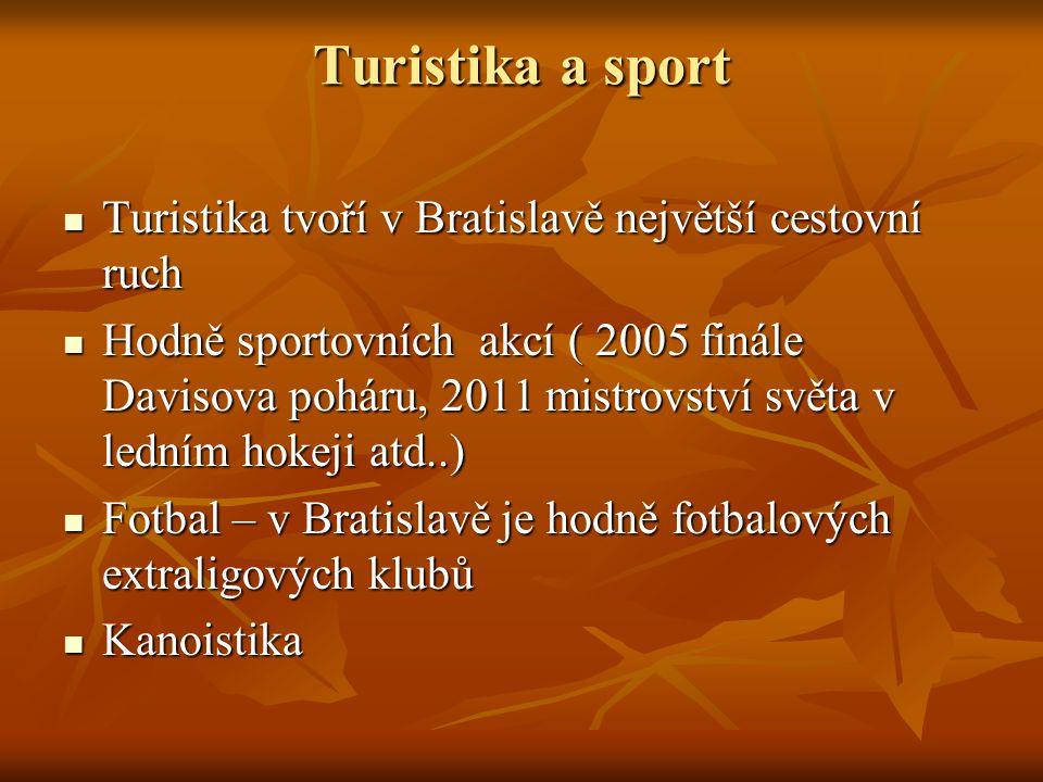 Turistika a sport Turistika tvoří v Bratislavě největší cestovní ruch Turistika tvoří v Bratislavě největší cestovní ruch Hodně sportovních akcí ( 2005 finále Davisova poháru, 2011 mistrovství světa v ledním hokeji atd..) Hodně sportovních akcí ( 2005 finále Davisova poháru, 2011 mistrovství světa v ledním hokeji atd..) Fotbal – v Bratislavě je hodně fotbalových extraligových klubů Fotbal – v Bratislavě je hodně fotbalových extraligových klubů Kanoistika Kanoistika
