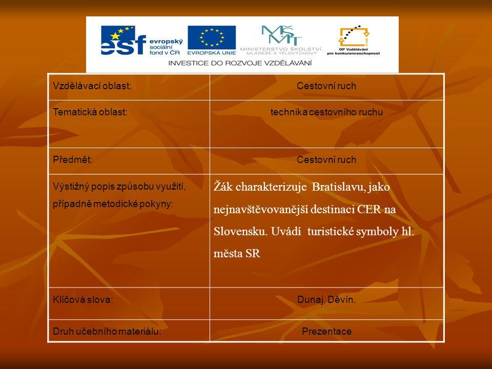 Vzdělávací oblast:Cestovní ruch Tematická oblast:technika cestovního ruchu Předmět:Cestovní ruch Výstižný popis způsobu využití, případně metodické pokyny: Žák charakterizuje Bratislavu, jako nejnavštěvovanější destinaci CER na Slovensku.