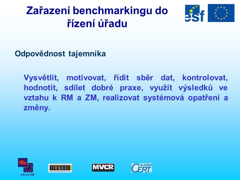 VCVS ČR Zařazení benchmarkingu do řízení úřadu Odpovědnost tajemníka Vysvětlit, motivovat, řídit sběr dat, kontrolovat, hodnotit, sdílet dobré praxe,