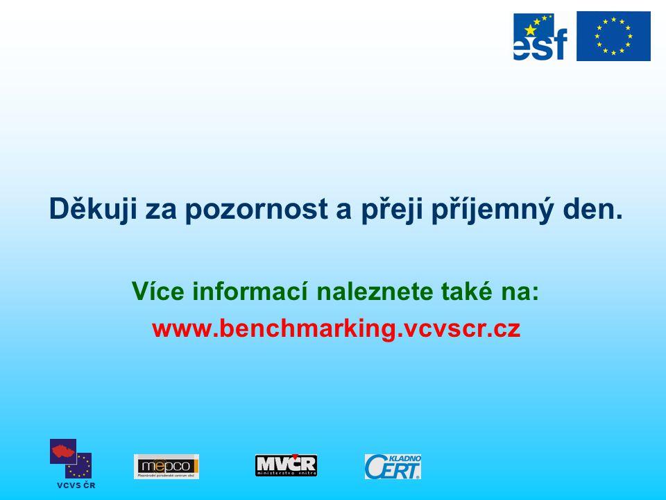 VCVS ČR Děkuji za pozornost a přeji příjemný den. Více informací naleznete také na: www.benchmarking.vcvscr.cz