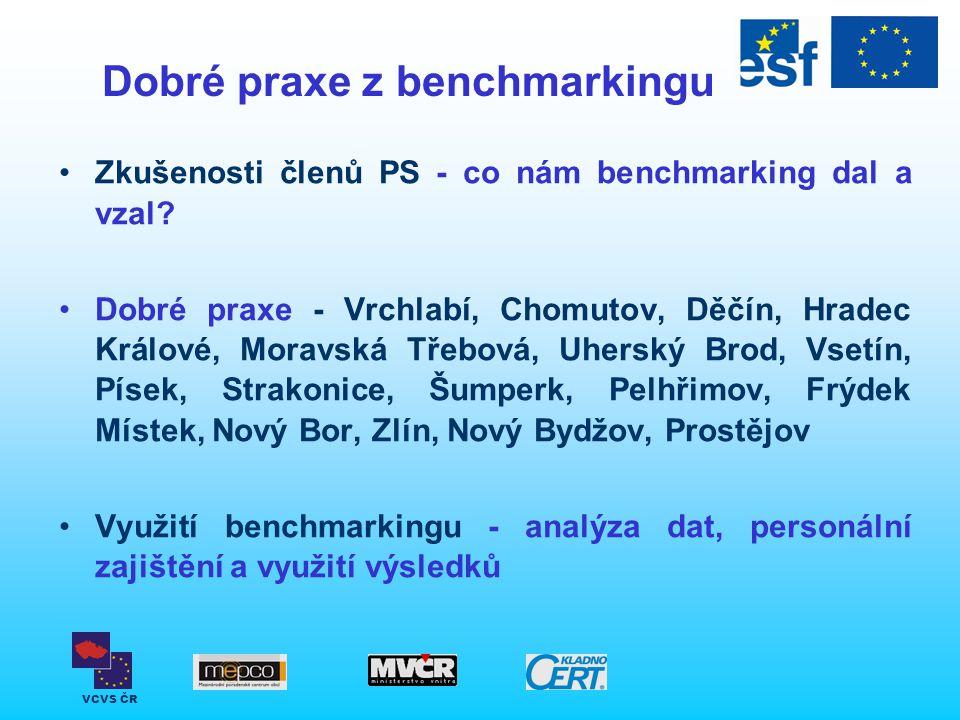 VCVS ČR Dobré praxe z benchmarkingu Zkušenosti členů PS - co nám benchmarking dal a vzal? Dobré praxe - Vrchlabí, Chomutov, Děčín, Hradec Králové, Mor