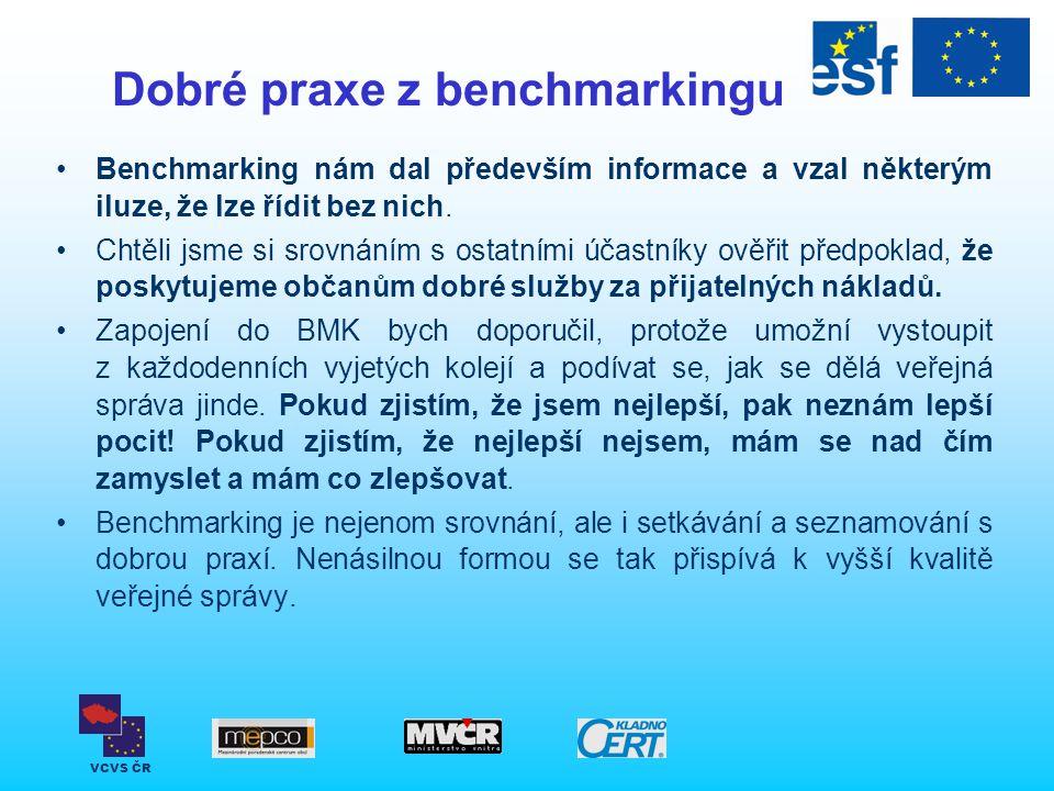 VCVS ČR Dobré praxe z benchmarkingu Benchmarking nám dal především informace a vzal některým iluze, že lze řídit bez nich. Chtěli jsme si srovnáním s