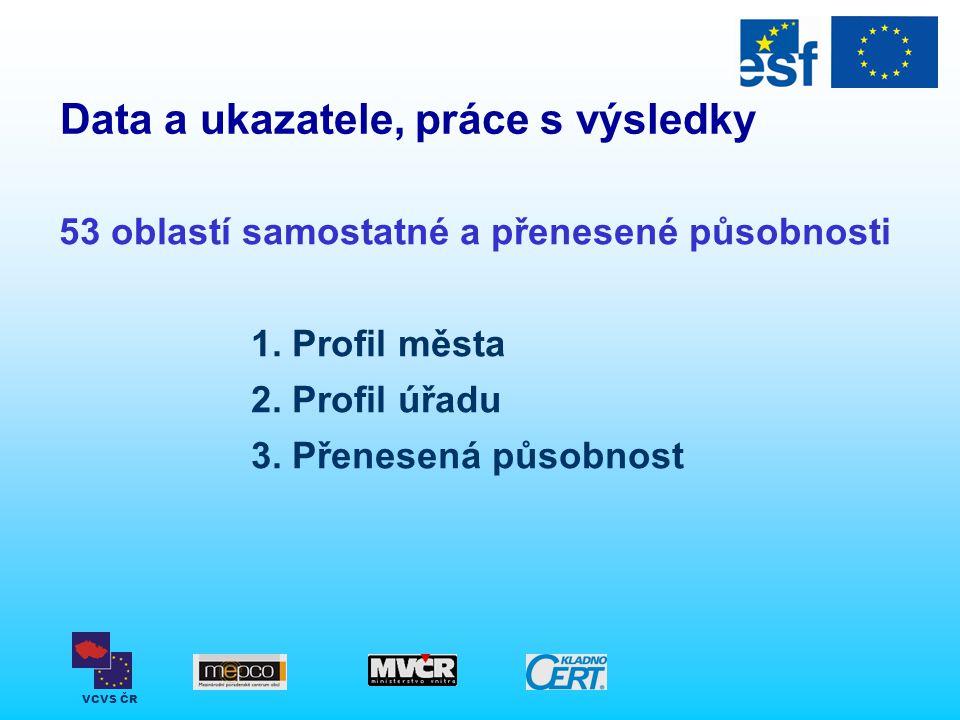 VCVS ČR Data a ukazatele, práce s výsledky 53 oblastí samostatné a přenesené působnosti 1. Profil města 2. Profil úřadu 3. Přenesená působnost