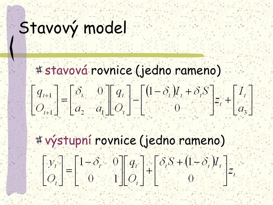 Stavový model stavová rovnice (jedno rameno) výstupní rovnice (jedno rameno)