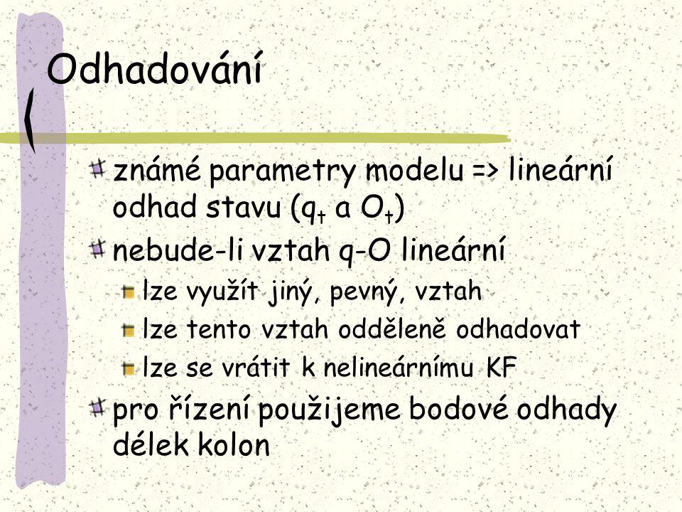 Odhadování známé parametry modelu => lineární odhad stavu (q t a O t ) nebude-li vztah q-O lineární lze využít jiný, pevný, vztah lze tento vztah oddě