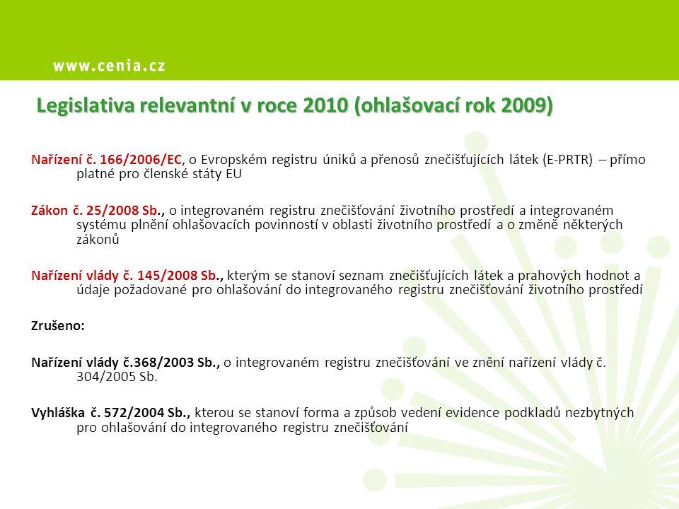 Legislativa relevantní v roce 2010 (ohlašovací rok 2009) Nařízení č.