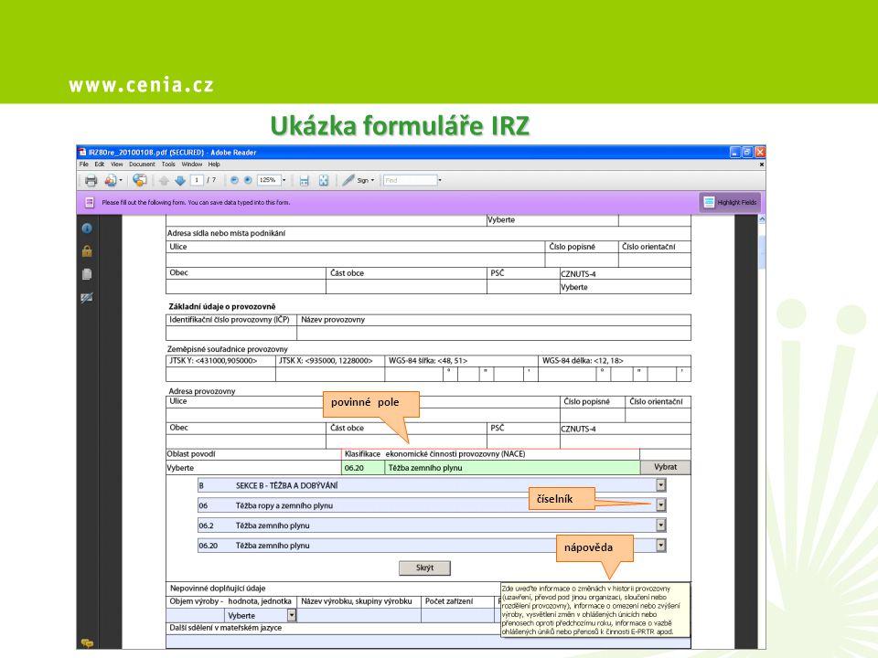 Ukázka formuláře IRZ číselník nápověda povinné pole