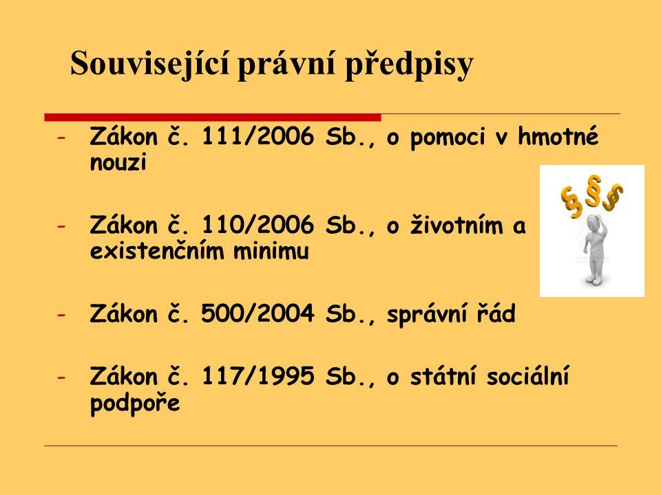 Související právní předpisy -Z-Zákon č.111/2006 Sb., o pomoci v hmotné nouzi -Z-Zákon č.