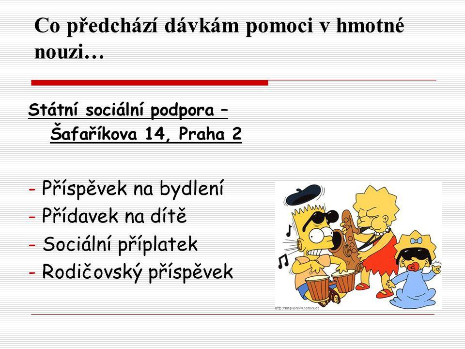 Co předchází dávkám pomoci v hmotné nouzi… Státní sociální podpora – Šafaříkova 14, Praha 2 - Příspěvek na bydlení - Přídavek na dítě - Sociální příplatek - Rodičovský příspěvek