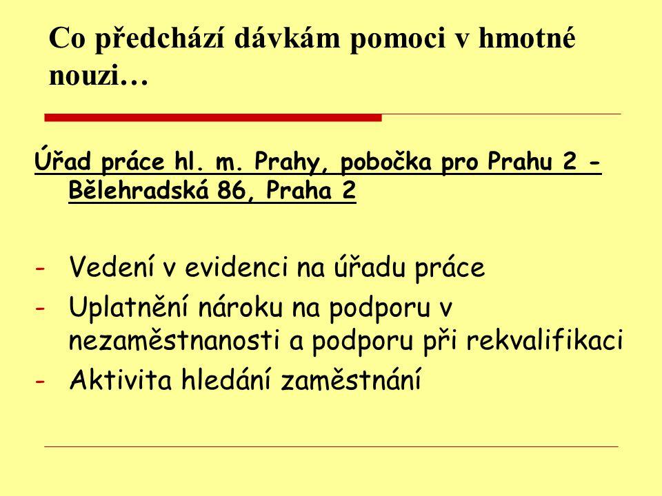 Co předchází dávkám pomoci v hmotné nouzi… Úřad práce hl.