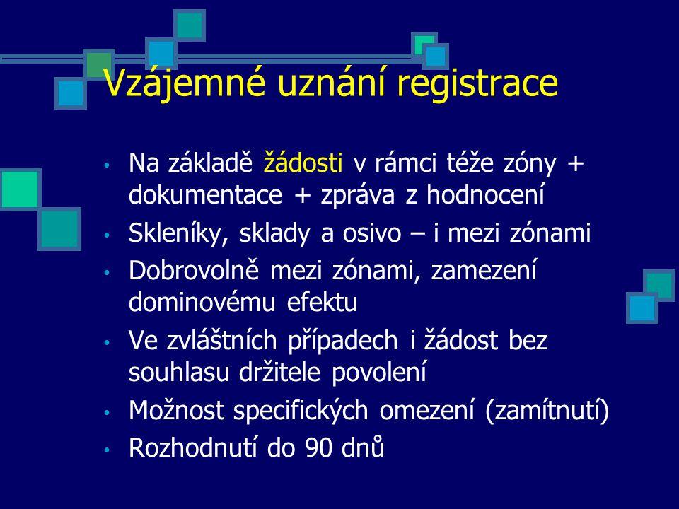Vzájemné uznání registrace Na základě žádosti v rámci téže zóny + dokumentace + zpráva z hodnocení Skleníky, sklady a osivo – i mezi zónami Dobrovolně