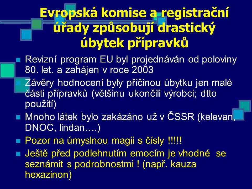 Evropská komise a registrační úřady způsobují drastický úbytek přípravků Revizní program EU byl projednáván od poloviny 80. let. a zahájen v roce 2003
