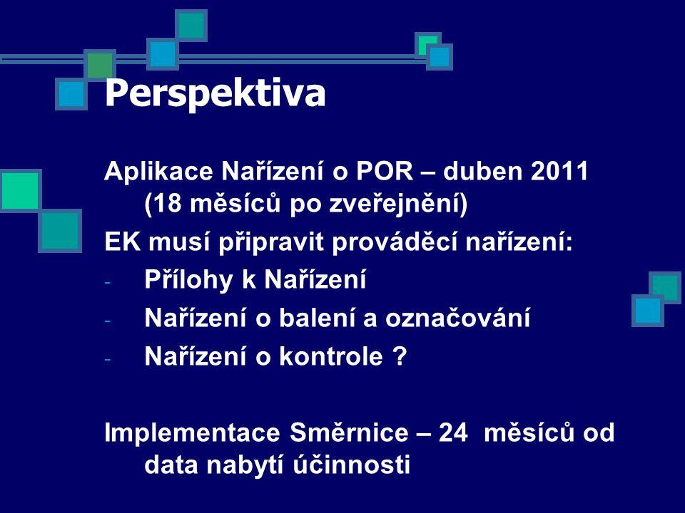 Perspektiva Aplikace Nařízení o POR – duben 2011 (18 měsíců po zveřejnění) EK musí připravit prováděcí nařízení: - Přílohy k Nařízení - Nařízení o balení a označování - Nařízení o kontrole .