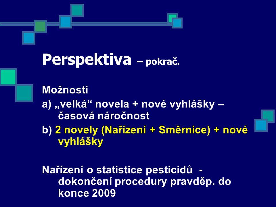 """Perspektiva – pokrač. Možnosti a) """"velká"""" novela + nové vyhlášky – časová náročnost b) 2 novely (Nařízení + Směrnice) + nové vyhlášky Nařízení o stati"""
